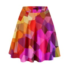 Geometric Fall Pattern High Waist Skirt