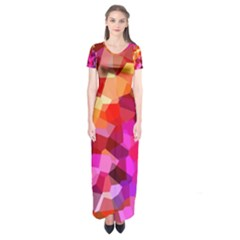 Geometric Fall Pattern Short Sleeve Maxi Dress