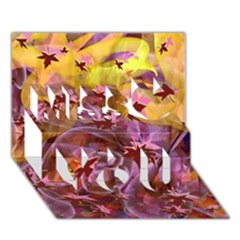 Falling Autumn Leaves Miss You 3D Greeting Card (7x5)