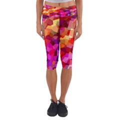 Geometric Fall Pattern Capri Yoga Leggings
