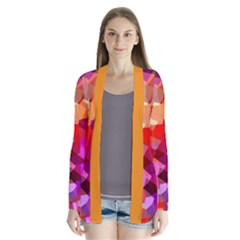 Geometric Fall Pattern Drape Collar Cardigan