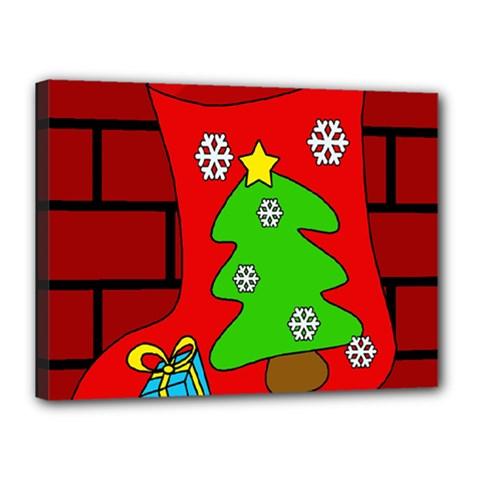 Christmas sock Canvas 16  x 12