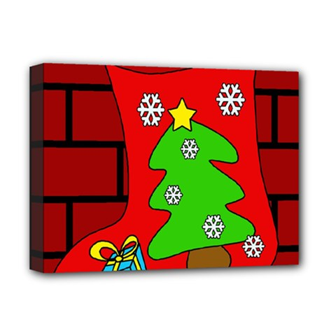 Christmas sock Deluxe Canvas 16  x 12