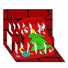 Christmas sock WORK HARD 3D Greeting Card (7x5)