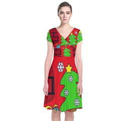 Christmas sock Short Sleeve Front Wrap Dress