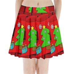 Christmas sock Pleated Mini Skirt