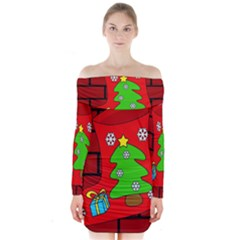 Christmas sock Long Sleeve Off Shoulder Dress