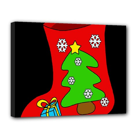 Christmas sock Canvas 14  x 11