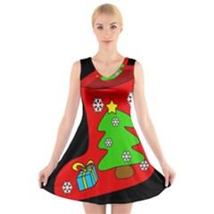 Christmas sock V-Neck Sleeveless Skater Dress