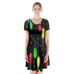 Christmas light Short Sleeve V-neck Flare Dress