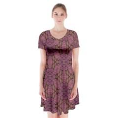 Fuchsia Abstract Shell Pattern Short Sleeve V-neck Flare Dress
