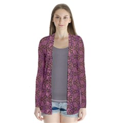 Fuchsia Abstract Shell Pattern Drape Collar Cardigan