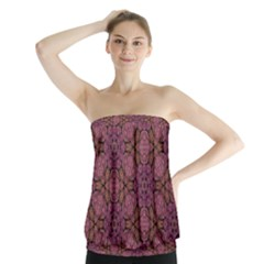Fuchsia Abstract Shell Pattern Strapless Top