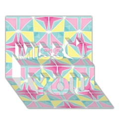 Pastel Block Tiles Pattern Miss You 3D Greeting Card (7x5)