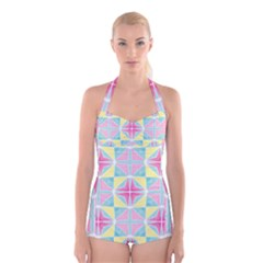 Pastel Block Tiles Pattern Boyleg Halter Swimsuit