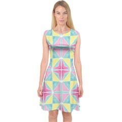 Pastel Block Tiles Pattern Capsleeve Midi Dress