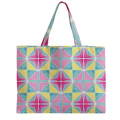 Pastel Block Tiles Pattern Medium Zipper Tote Bag