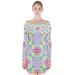 Pastel Block Tiles Pattern Long Sleeve Off Shoulder Dress