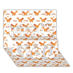 Fox and Laurel Pattern Miss You 3D Greeting Card (7x5)