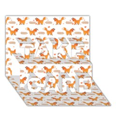 Fox and Laurel Pattern TAKE CARE 3D Greeting Card (7x5)
