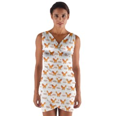 Fox and Laurel Pattern Wrap Front Bodycon Dress