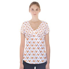 Fox and Laurel Pattern Short Sleeve Front Detail Top