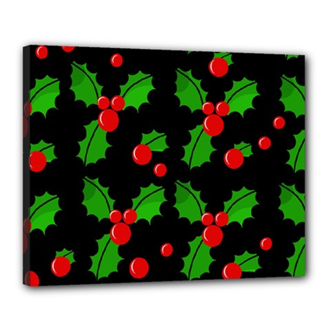 Christmas berries pattern  Canvas 20  x 16