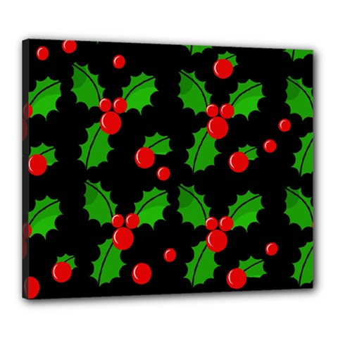 Christmas berries pattern  Canvas 24  x 20