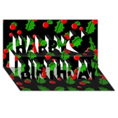 Christmas berries pattern  Happy Birthday 3D Greeting Card (8x4)
