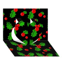 Christmas berries pattern  Heart 3D Greeting Card (7x5)