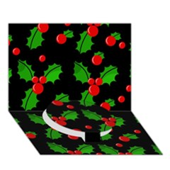Christmas berries pattern  Circle Bottom 3D Greeting Card (7x5)