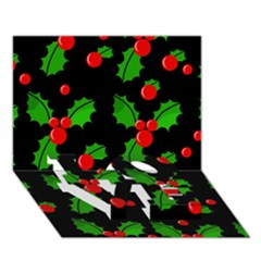 Christmas berries pattern  LOVE Bottom 3D Greeting Card (7x5)