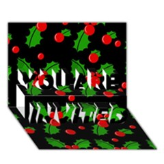Christmas berries pattern  YOU ARE INVITED 3D Greeting Card (7x5)