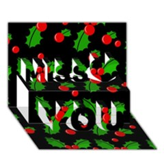 Christmas Berries Pattern  Miss You 3d Greeting Card (7x5)