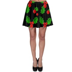 Christmas berries pattern  Skater Skirt