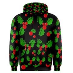 Christmas berries pattern  Men s Pullover Hoodie
