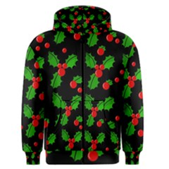 Christmas berries pattern  Men s Zipper Hoodie