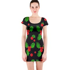 Christmas berries pattern  Short Sleeve Bodycon Dress