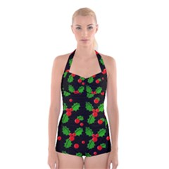 Christmas berries pattern  Boyleg Halter Swimsuit