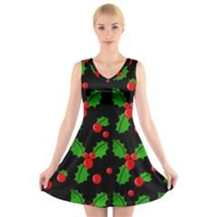 Christmas berries pattern  V-Neck Sleeveless Skater Dress