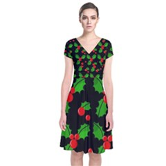 Christmas berries pattern  Short Sleeve Front Wrap Dress