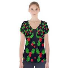 Christmas berries pattern  Short Sleeve Front Detail Top