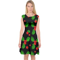 Christmas Berries Pattern  Capsleeve Midi Dress