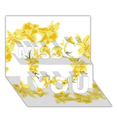 Daffodils Illustration  Miss You 3d Greeting Card (7x5)