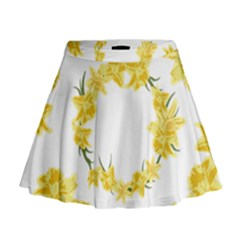 Daffodils Illustration  Mini Flare Skirt