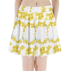 Daffodils Illustration  Pleated Mini Skirt