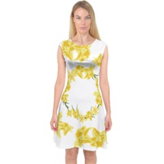 Daffodils Illustration  Capsleeve Midi Dress