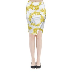 Daffodils Illustration  Midi Wrap Pencil Skirt
