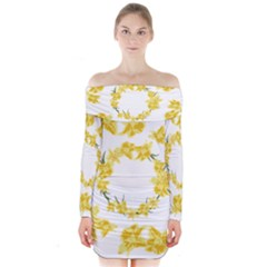 Daffodils Illustration  Long Sleeve Off Shoulder Dress