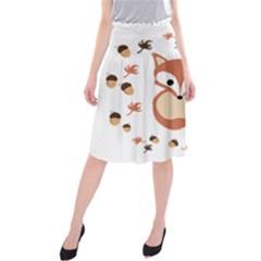 Fox In Autumn Midi Beach Skirt